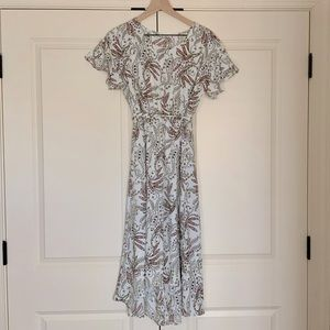 White Floral Dress with Ruffle Sleeves - NWOT